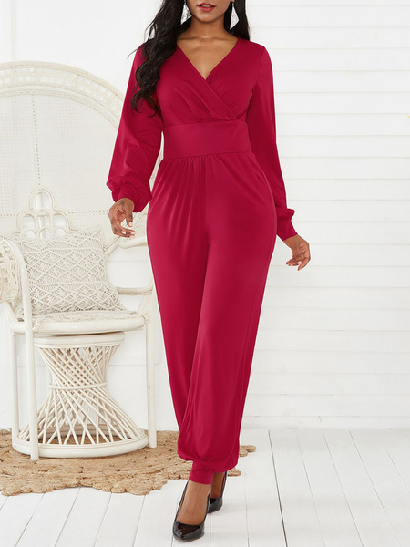 Milanoo Red Long Sleeves Cotton Blend Straight Summer One Piece Outfit