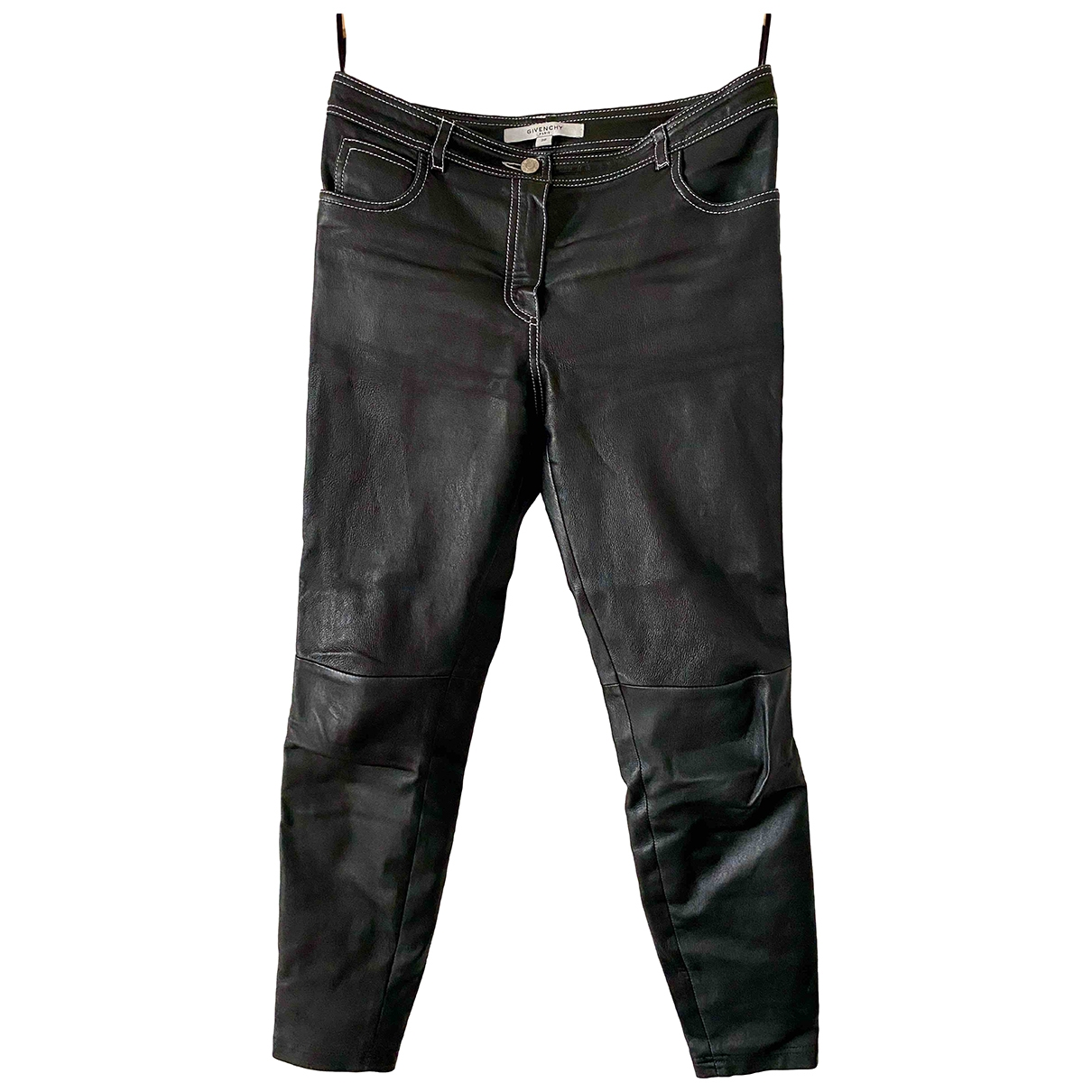 Givenchy \N Black Leather Trousers for Women 38 FR