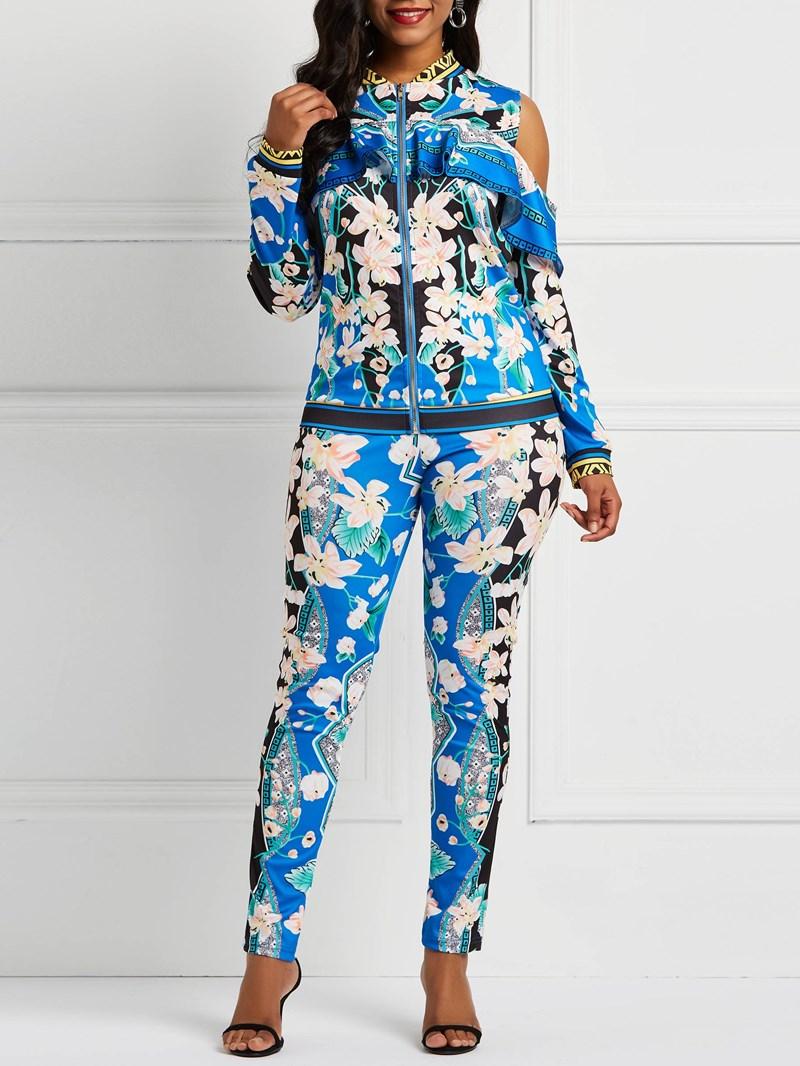 Ericdress Floral Falbala Coat and Pencil Pants Women's Two Piece Set