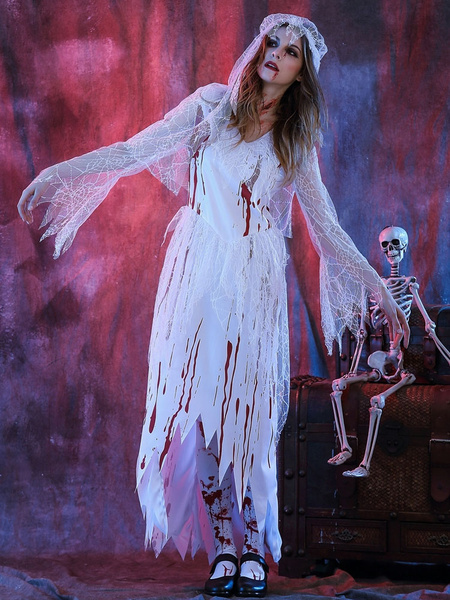 Milanoo Day Of The Dead Costume Halloween Costume Corpse Bride Women's White Dress With Heagear Halloween