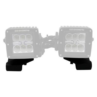 Go Rhino Center Hood Mounts for 3-inch Cube Lights (Black) - 732230T