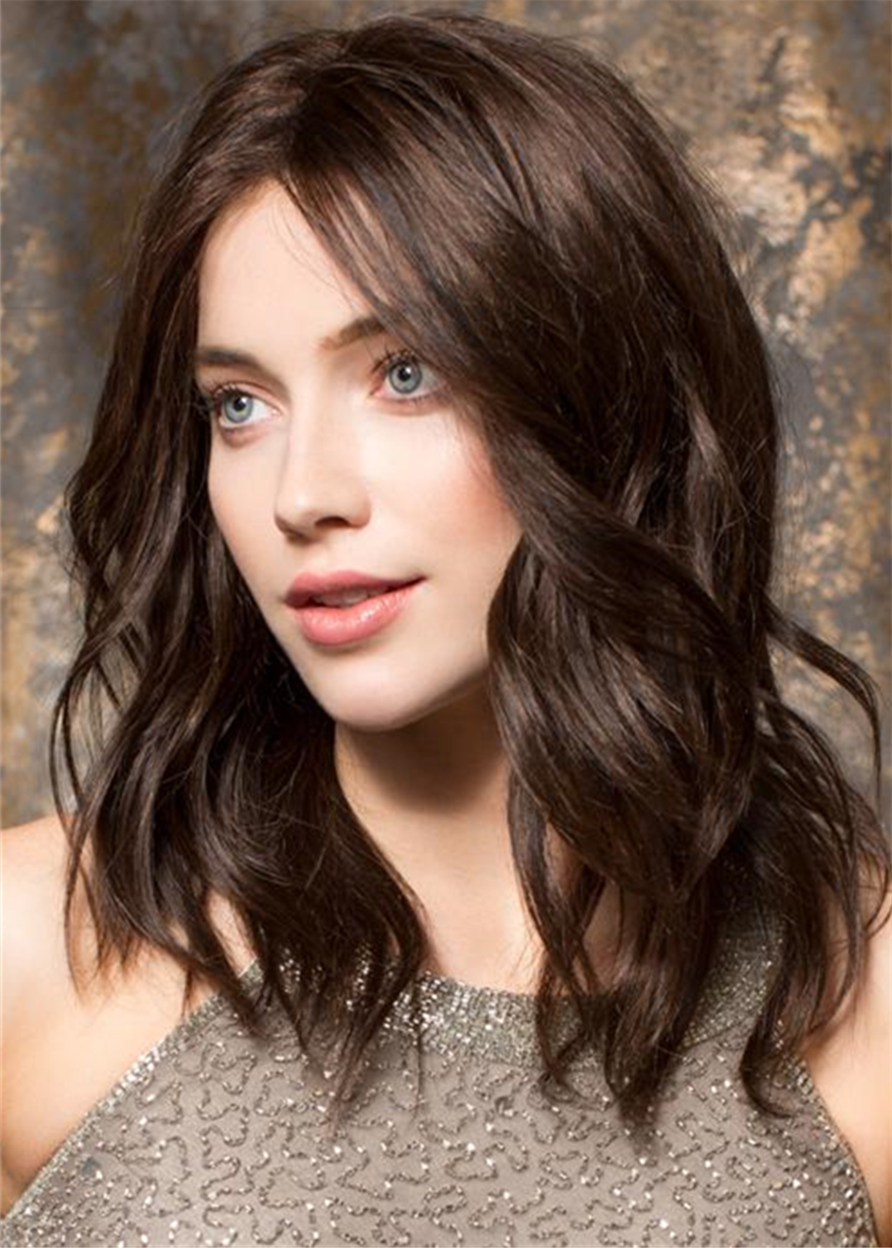 Human Hair Wavy Women Capless 16 Inches 120% Wigs Heat Resistant Natural Looking Daily Party Wigs Cosplay Wigs with Natural Bangs with Free Wig Cap