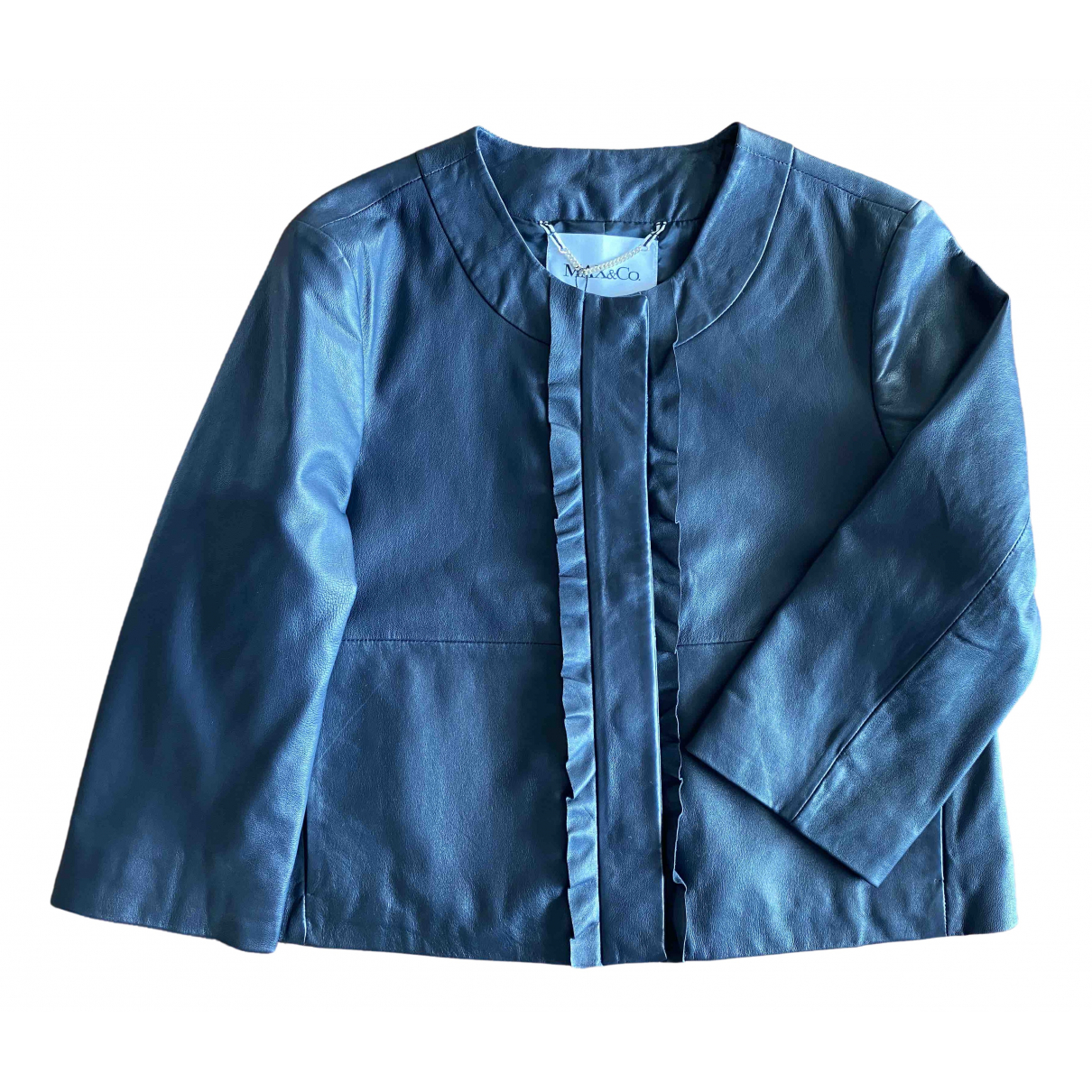 Max & Co \N Navy Leather Leather jacket for Women 42 IT