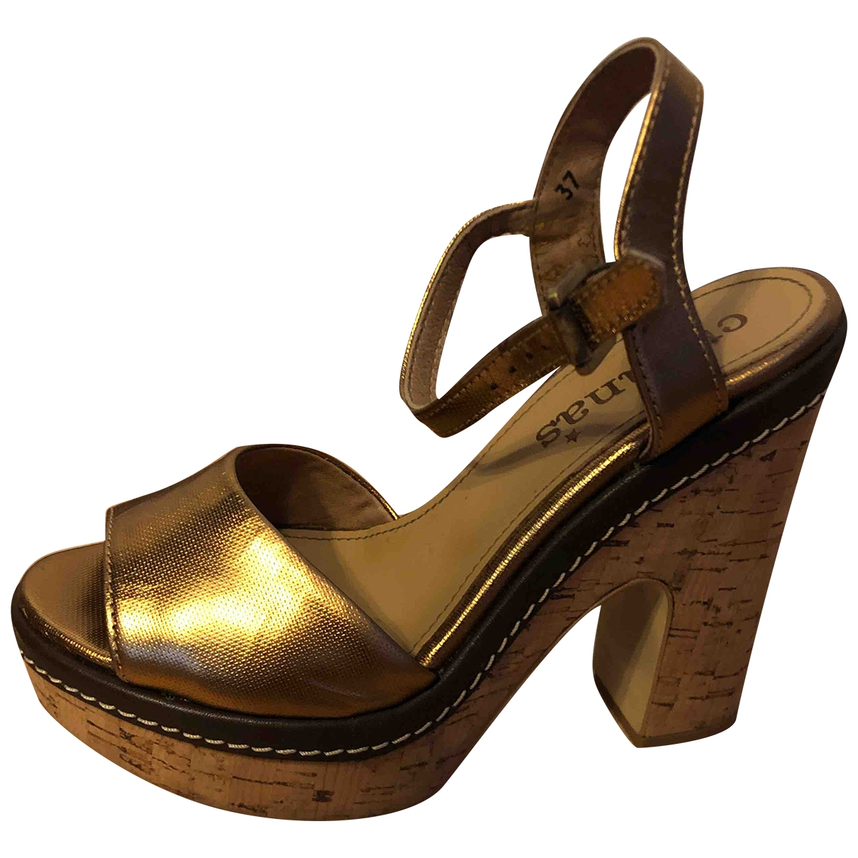 Non Signé / Unsigned \N Gold Leather Mules & Clogs for Women 37 EU