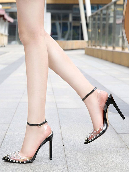 Milanoo Heel Sandals Sandals Black Rivets Stiletto Heel Pointed Toe Slingback Ankle Strap Party Shoes