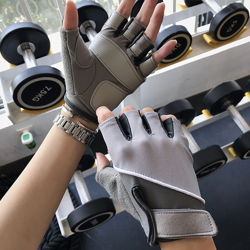 Cycling Gloves Sports Fitness Gloves Female Anti Slip Half Finger Hand Protection Equipment Training Mobile Bicycle Exercise Protective Gloves