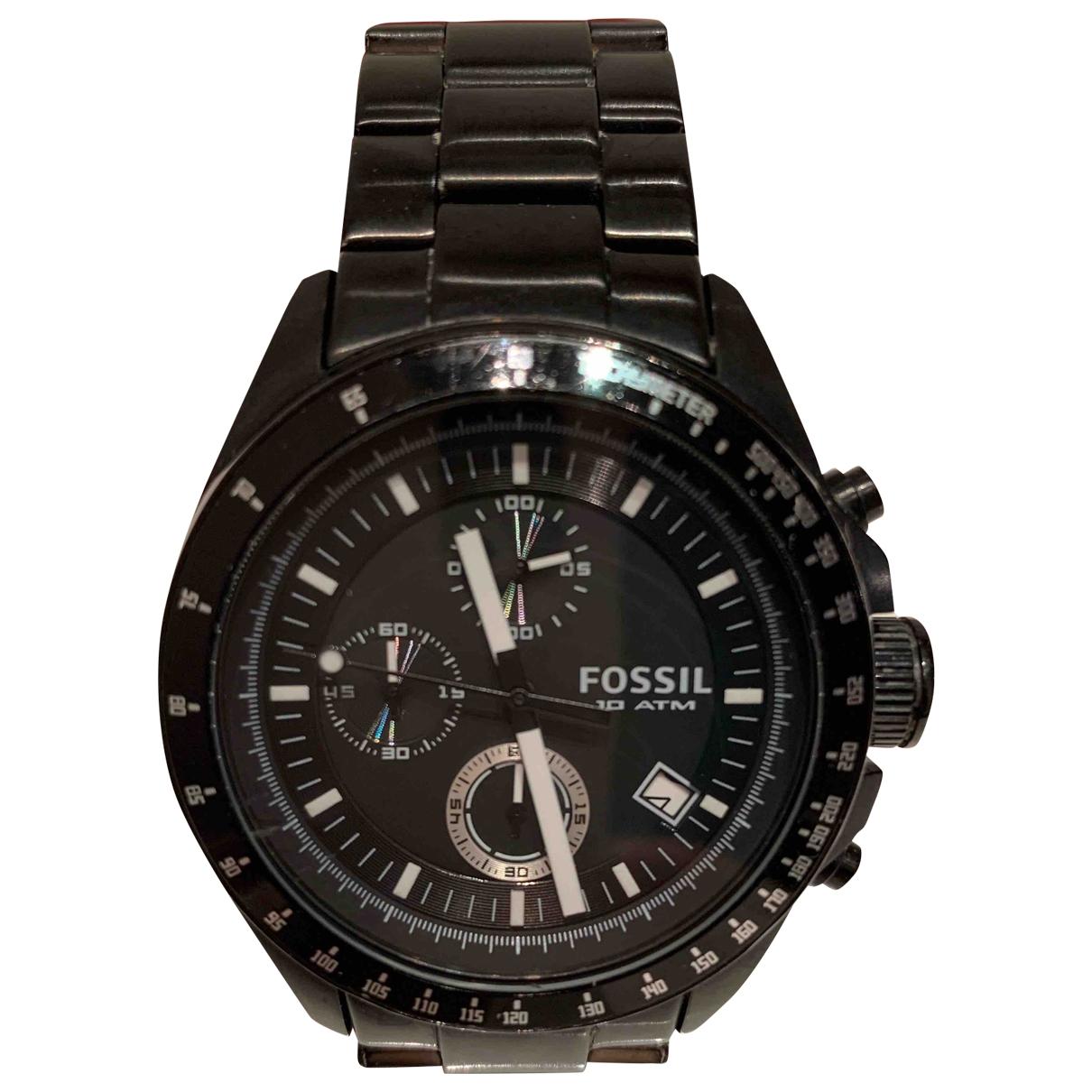 Fossil \N Black Steel watch for Men \N