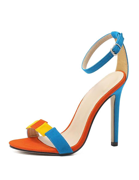 Milanoo High Heel Sandals Womens Multicolor Open Toe Ankle Strap Stiletto Heel Sandals