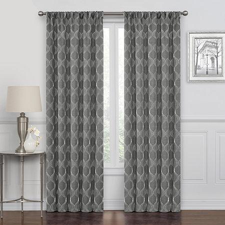 Maxx Blackout Prescott Embroidered 100% Blackout Rod-Pocket Single Curtain Panel, One Size , Gray
