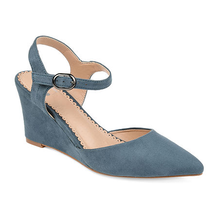 Journee Collection Womens Anndria Pumps Wedge Heel, 7 Medium, Blue