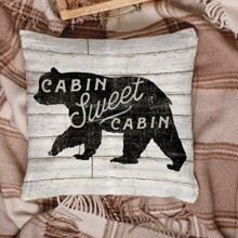 1pc Bear Print Cushion Cover Without Filler