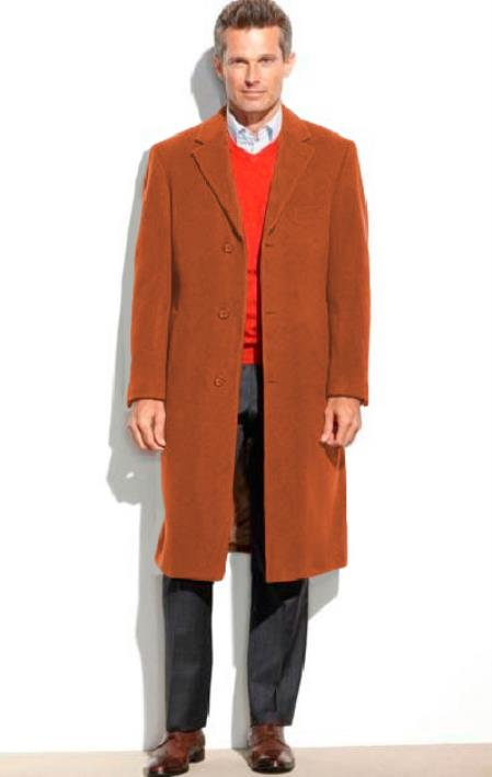 Mens 0.65 Wool length Notch Lapel Over&Topcoat Rust(Cashmere Touch)