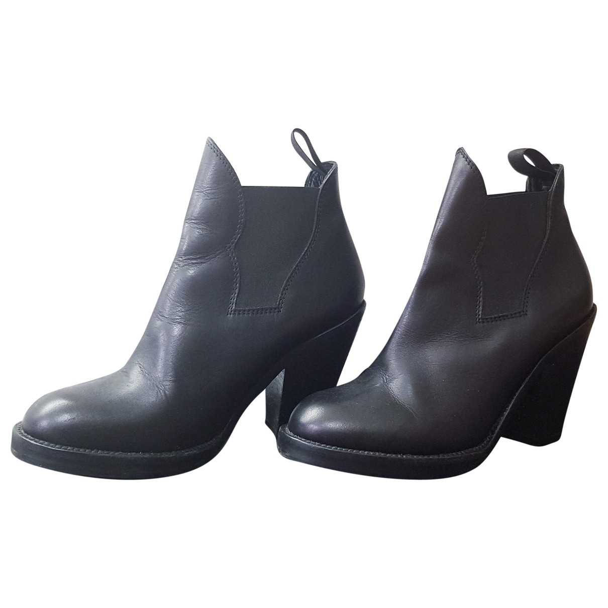 Acne Studios Star Black Leather Ankle boots for Women 38 EU