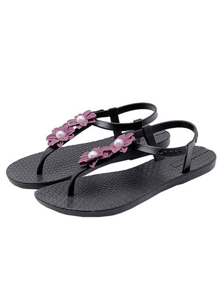 Milanoo Women\'s Sandals Flat Sandals Flowers Beach Round Toe Deep Blue Sandals