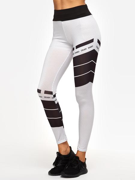 Yoins White Grid Printed High-waisted Active Bottoms Yoga Pants