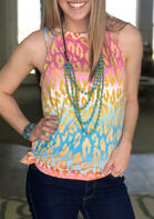 Leopard Gradient Criss-Cross Camisole without Necklace