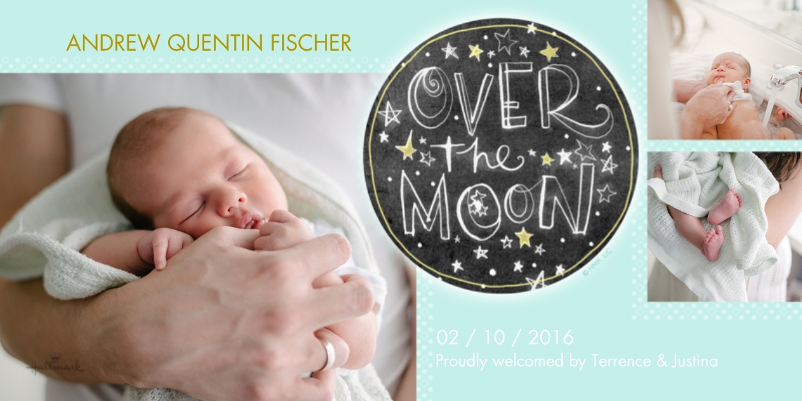 Newborn 4x8 Flat Card Set, 85lb, Card & Stationery -Over the Moon