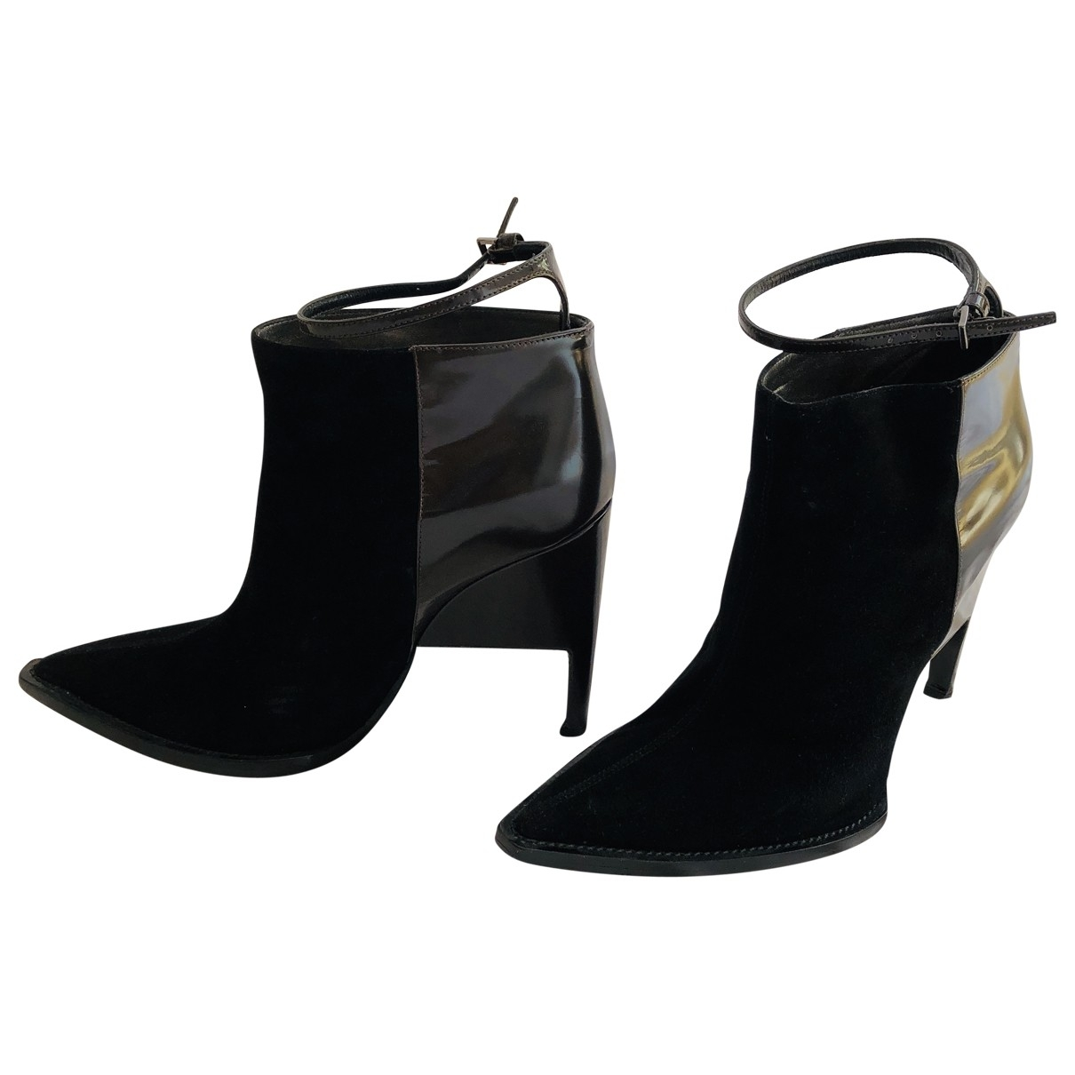 John Galliano \N Black Leather Ankle boots for Women 36 EU