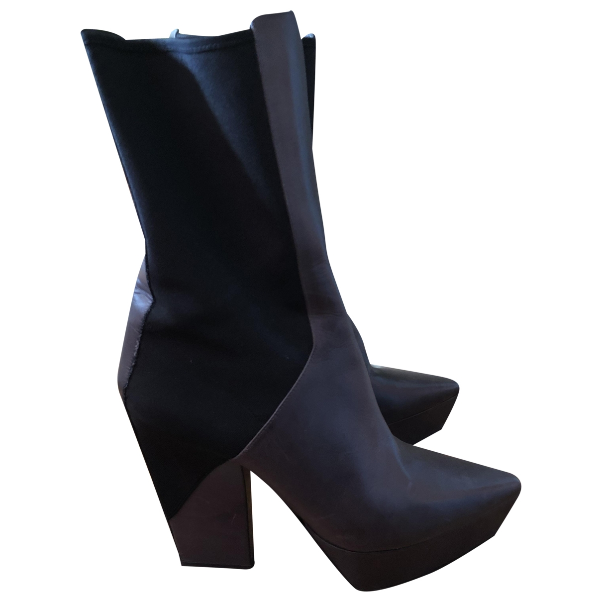 Jil Sander \N Anthracite Leather Boots for Women 39.5 EU