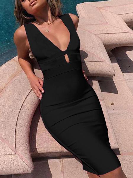 YOINS Black Backless Design Cut Out Deep V Neck Sleeveless Dress