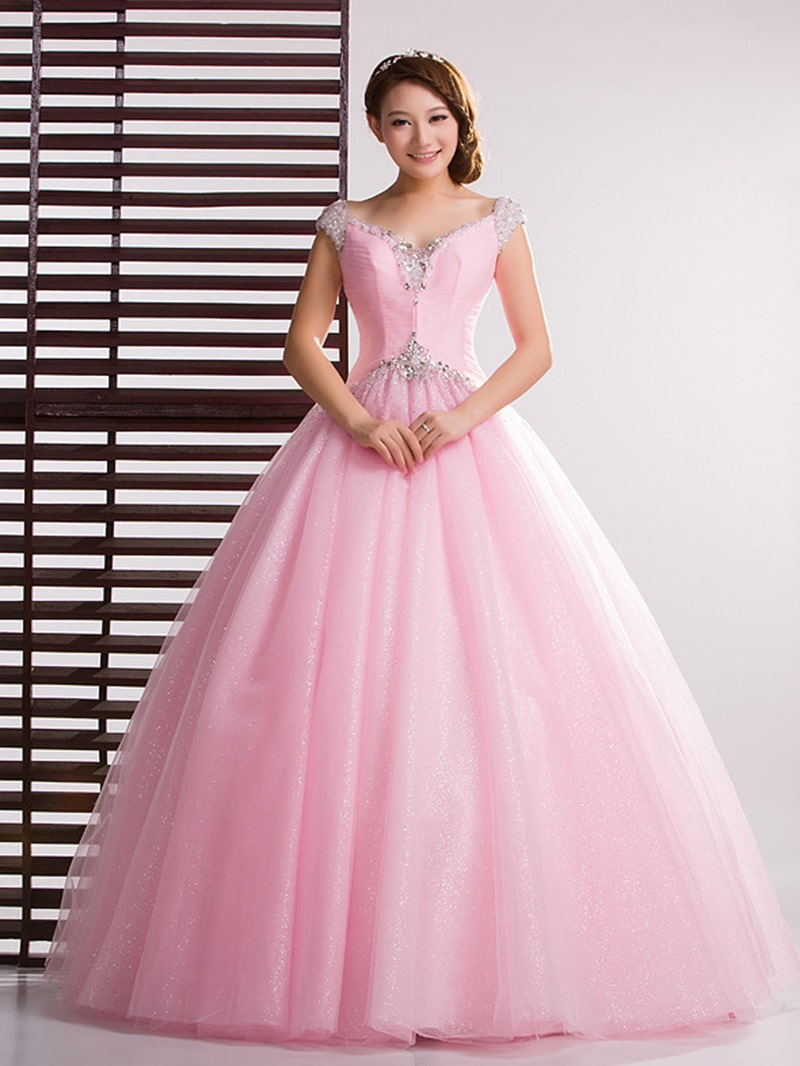 Ericdress Stunning V-Neck Long Ball Gown Quinceanera Dress