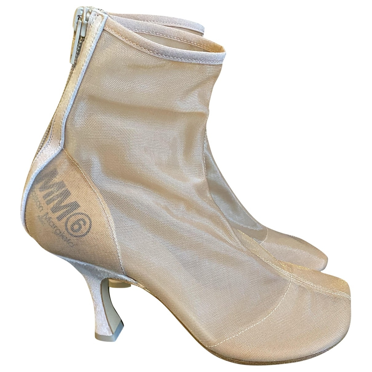 Mm6 \N Beige Cloth Ankle boots for Women 37 EU