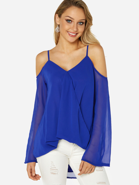 Yoins Blue Crossed Front Design Cold Shoulder Parially Lined Top