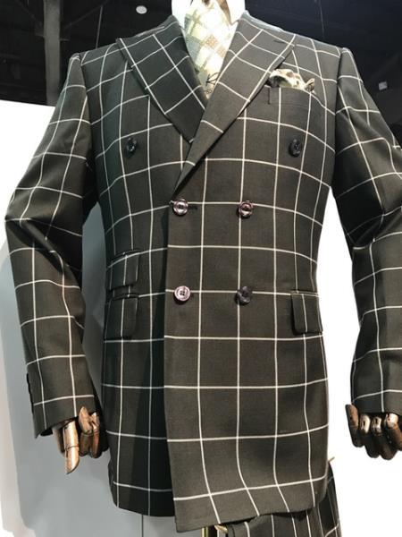Mens Black White Pattern Plaid Windowpane Double Blazer Sport Coat