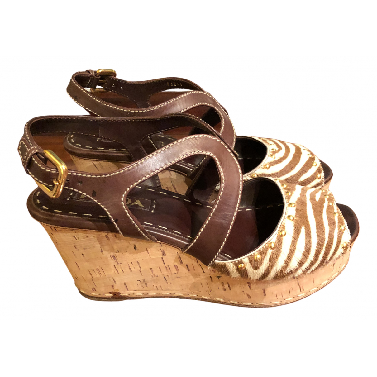 Prada \N Brown Leather Sandals for Women 39.5 EU