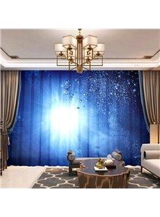 3D Digital Print Decorative Navy Blue Sheer Curtains for Living Room Bedroom