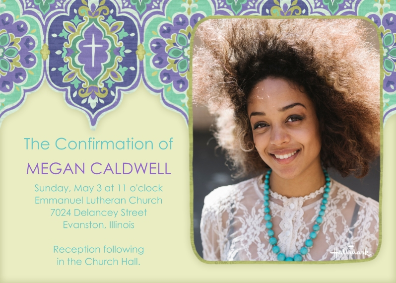 Confirmation 5x7 Cards, Premium Cardstock 120lb with Scalloped Corners, Card & Stationery -Purple Design Cross Photo