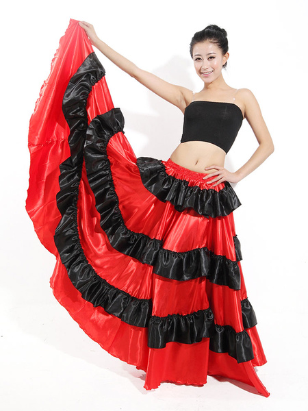 Milanoo Paso Doble Dance Skirt Two Tone Ruffle Red Long Skirt