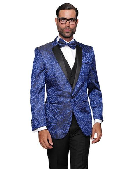 Mens Blue Dinner Jacket Tuxedo Party Entertainer Blazer Sport coat