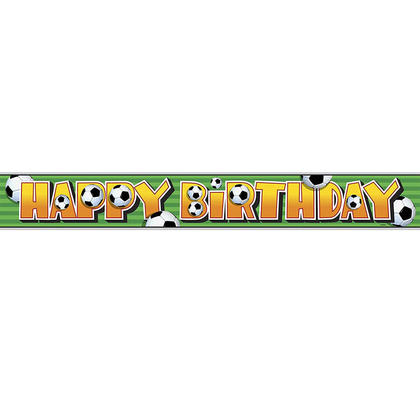 Foil Soccer Happy Birthday Banner for Home Party Decoration, 12ft For Birthday Party