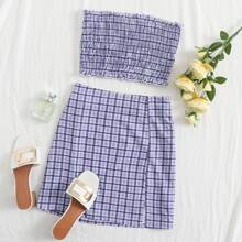 Shirred Plaid Bandeau Top & Slit Hem Skirt Set