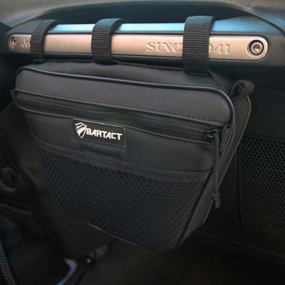 Bartact XXDHBFB Jeep Wrangler Dash Bag Passenger Grab Handle Dash Bag Fabric Black