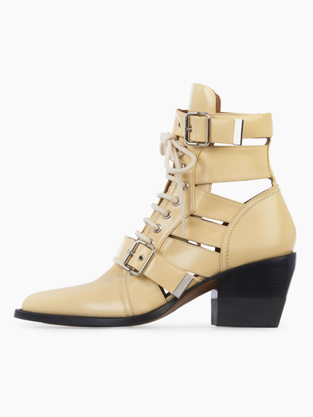 Milanoo Women Ankle Boots Leather Pointed Toe Cut Out Buckle Detail Lace Up Motorcycle Boots