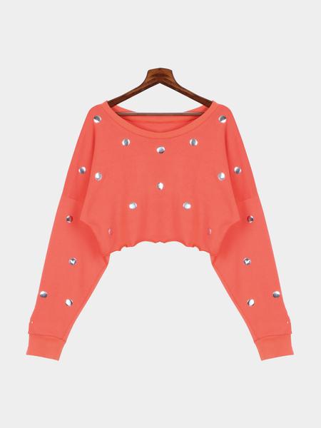 Yoins Red Sequins Round Neck Crop Sweatshirt