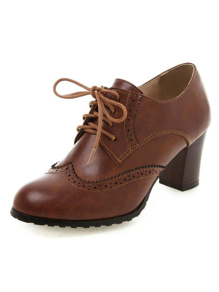 Milanoo Trendy Womens Oxfords Lace Up Vintage Women Shoes