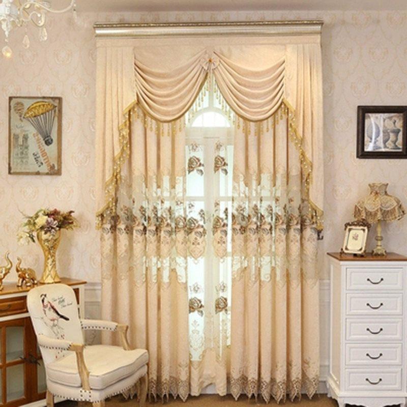 European Style Elegant Beige Drapes Grommet 2 Panels Sheer