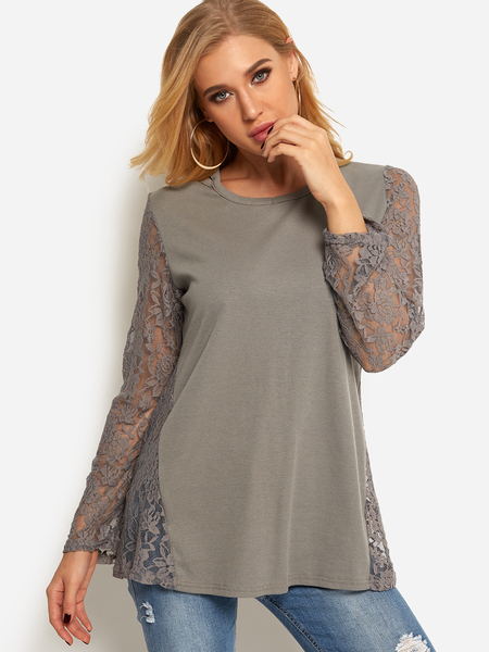 Yoins Grey Lace Insert See Through Design Round Neck Long Sleeve T-shirt