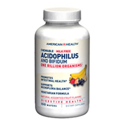Probiotic Acidophilus with Bifidus Chewable Assorted Fruit Flavor 100 Wafers by American Health