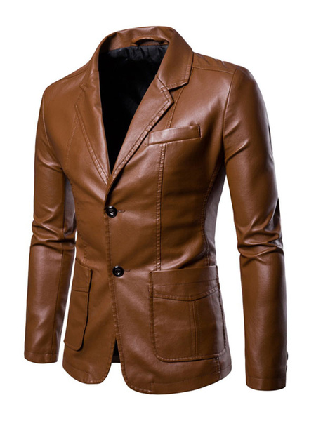Milanoo Men Casual Blazer Notch Collar Pocket Two Button PU Leather Jacket
