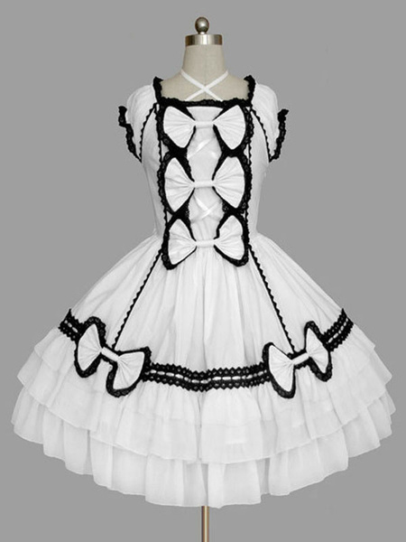 Milanoo Classic Lolita OP Dress Ruffles Black Short Sleeves Lolita One Piece Dresses