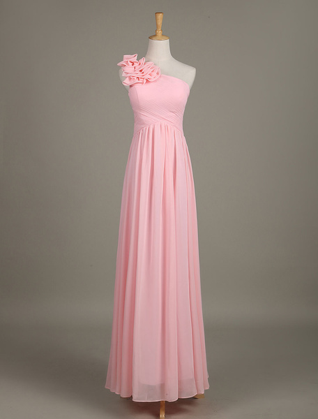 Milanoo Blush Bridesmaid Dress Chiffon One Shoulder Ruffled Zipper A Line Long Wedding Party Dress