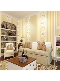 Yellow Lines and Floral Prints 3D White Waterproof Wall Mural