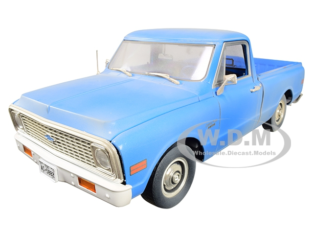 1971 Chevrolet C-10 Pickup Truck Light Blue (Dusty) The Texas Chainsaw Massacre (1974) Movie 1/18 Diecast Model Car by Highway 61