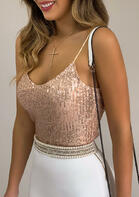 Sequined Sleeveless Camisole without Necklace - Gold