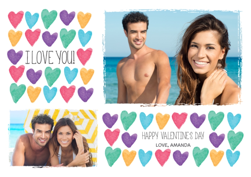 Valentine's Cards 5x7 Cards, Premium Cardstock 120lb with Elegant Corners, Card & Stationery -I Love You Hearts
