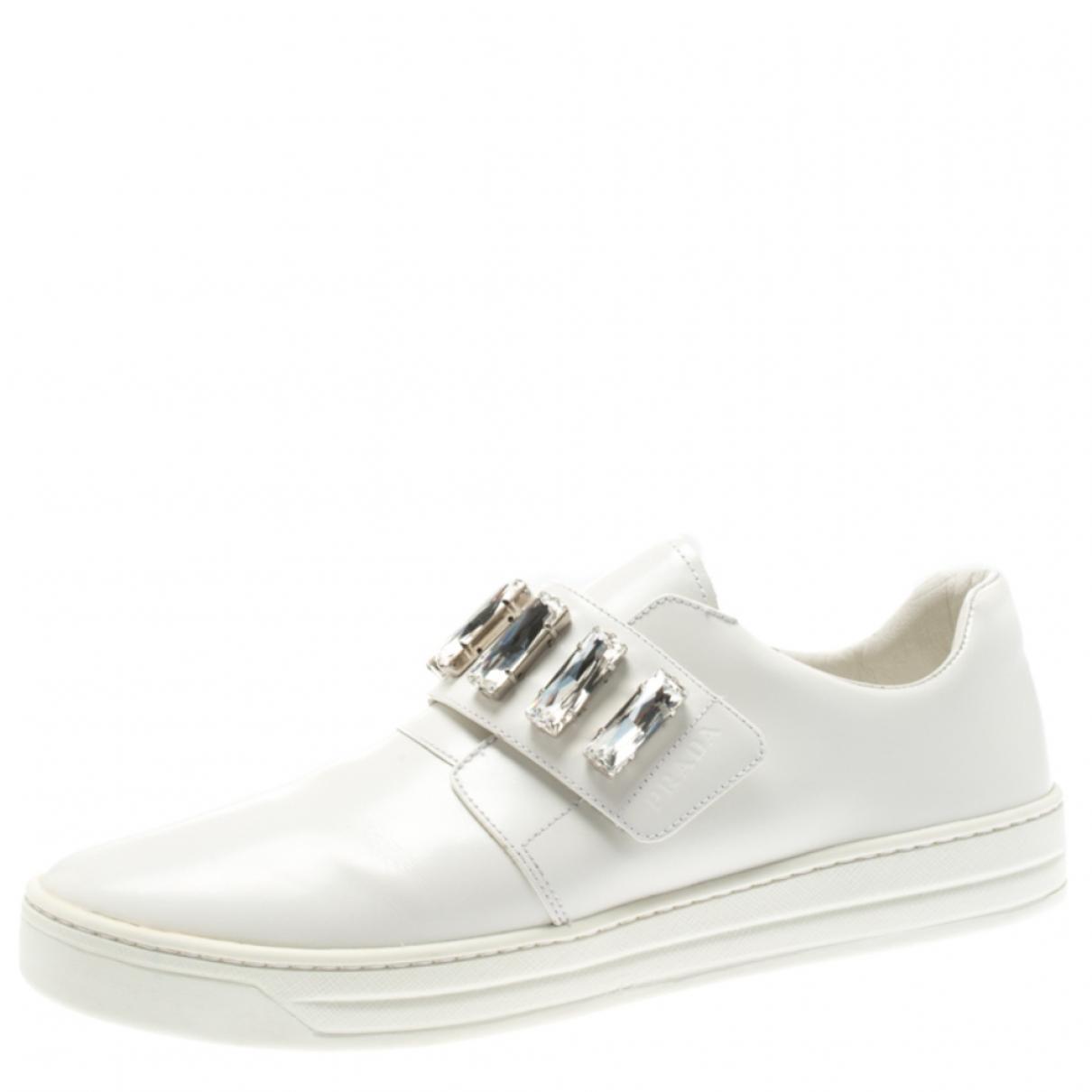 Prada \N White Leather Flats for Women 9 US